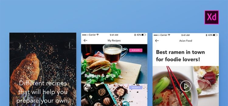 123_Foodies Free Adobe XD Mobile UI Kit