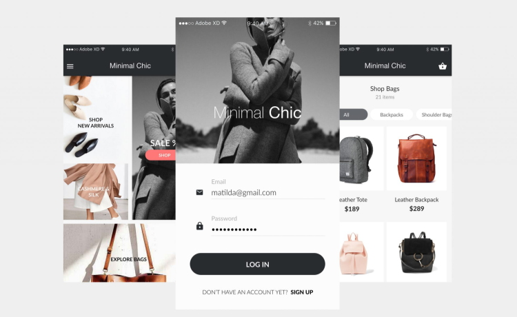 212_Minimal Chic - iOS UI Kit Freebie